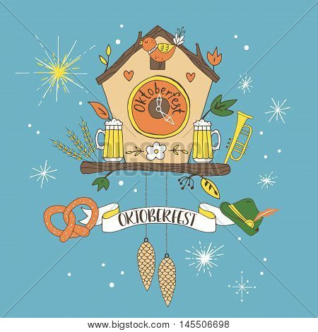 Oktoberfest hand drawing poster design with cuckoo clock