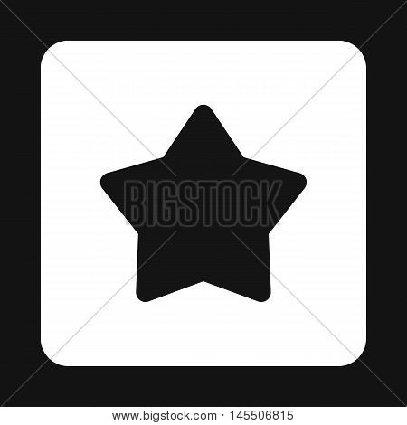 Five pointed black star icon in simple style isolated on white background. Figure symbol