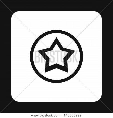 Star in circle icon in simple style isolated on white background. Figure symbol