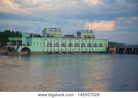 VOLKHOV, RUSSIA - JUNE 03, 2016: The building of the Volkhov hydroelectric power plant, closeup June evening. Leningrad region