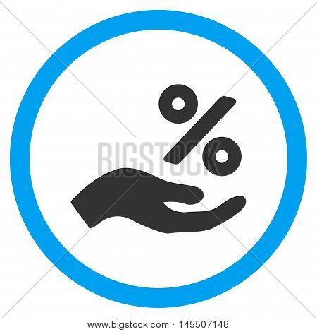 Percent Offer Hand vector bicolor rounded icon. Image style is a flat icon symbol inside a circle, blue and gray colors, white background.
