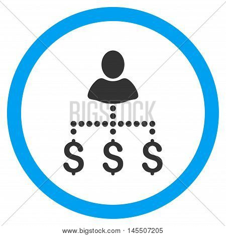 Person Payments vector bicolor rounded icon. Image style is a flat icon symbol inside a circle, blue and gray colors, white background.