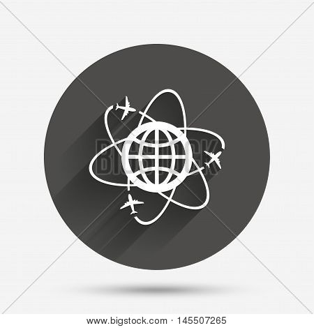Globe sign icon. World logistics symbol. Worldwide travel flights. Circle flat button with shadow. Vector