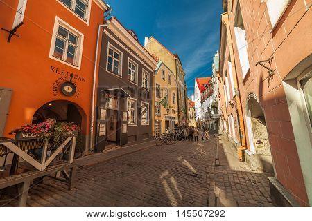 Estonia Tallinn - 6 JUNE 2016: Narrow old street at Old Town (historiacal part of Tallinn)