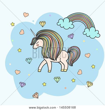 Colorful patch with unicorn, heart, star, diamond, crystal, bright rainbow. Hand drawn vector Illustration for kid textile, card, pin, t-shirt print design. Fashion trend badge. Fairy tale, magic