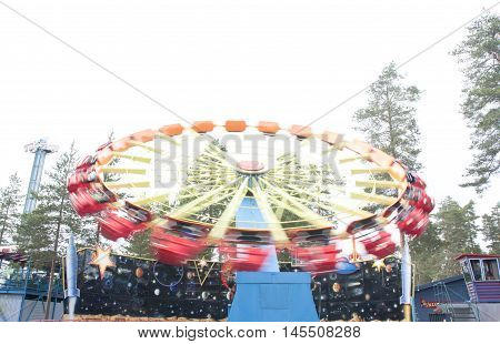 Kouvola, Finland 7 June 2016 - Ride Enterprise In Motion In Amusement Park Tykkimaki
