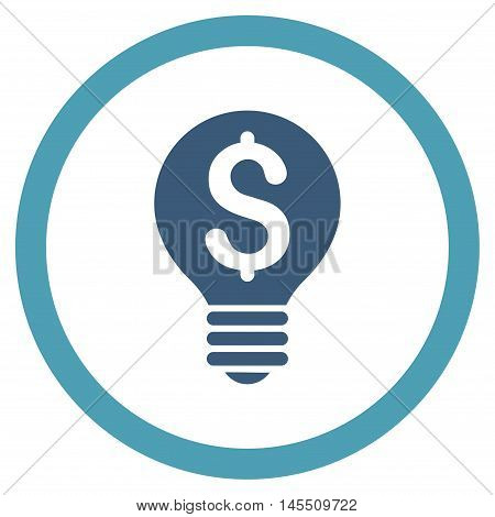 Business Patent Bulb vector bicolor rounded icon. Image style is a flat icon symbol inside a circle, cyan and blue colors, white background.