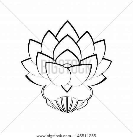 Black stylized image of a lotus flower on a white background, tattoo. The symbol of commitment to the Buddha in Japan. Vector illustration.
