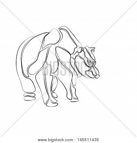 Black and white, stylized bear of isolated segments, tattoo. Vector illustration