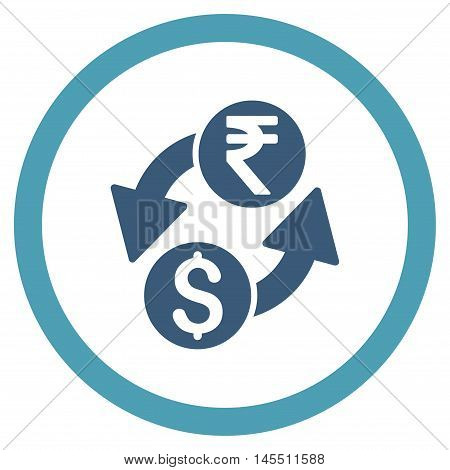 Dollar Rupee Exchange vector bicolor rounded icon. Image style is a flat icon symbol inside a circle, cyan and blue colors, white background.