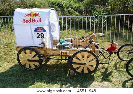 CLUJ-NAPOCA ROMANIA - SEPTEMBER 3 2016: Covered wagon race mobil at the Red Bull Soapbox Race