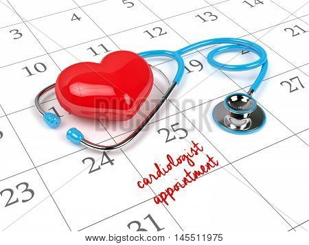3D Rendering Of Blue Stethoscope, Calendar And Cardiologist Appointment Note
