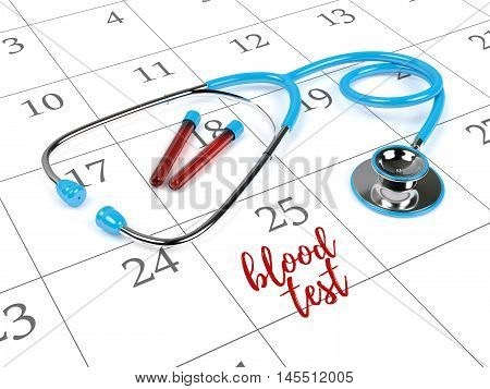 3D Rendering Of Stethoscope, Calendar And Blood Test Note