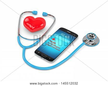 3D Rendering Of Stethoscope, Mobile Phone And Consultation Reminder