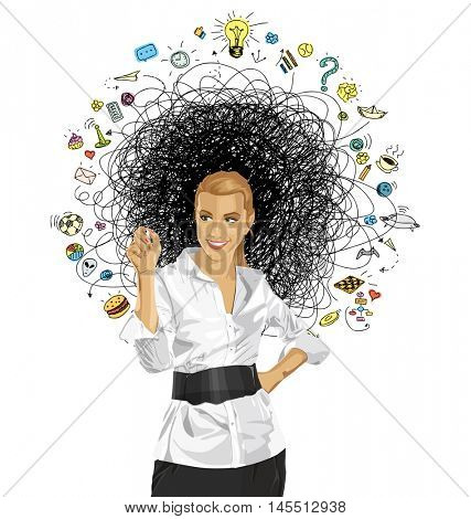 Idea concept. Vector Business woman writing something. All layers well organized and easy to edit