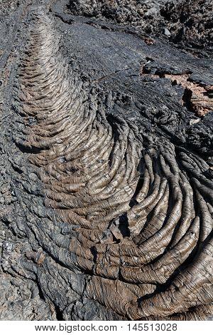 Beautiful volcanic landscape of Kamchatka Peninsula: view of lava field volcanic eruption active Plosky Tolbachik Volcano. Eurasia Russia Far East Kamchatka Region Klyuchevskaya Group of Volcanoes.