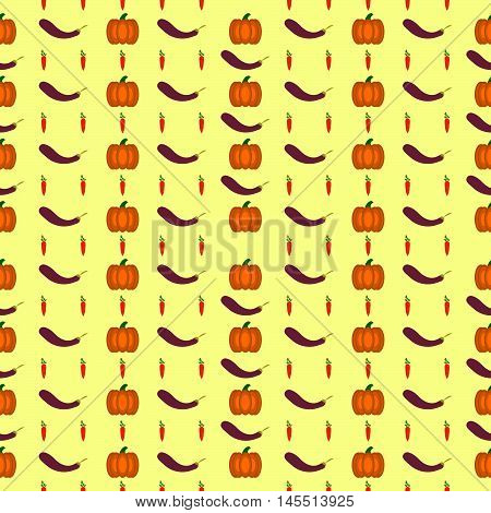 Healthy food vector pattern. Vintage Food seamless pattern with fresh vegetables isolated on white. Vector illustration.