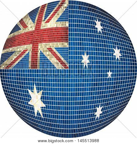 Ball with Australia flag - Illustration,  Sphere Australian flag vector,   Abstract Grunge Mosaic flag of Australia