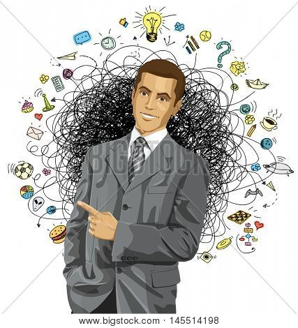 Idea concept. Vector business man show something with his finger