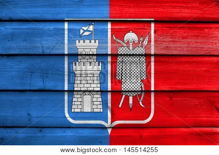 Flag Of Rostov On Don, Russia, Painted On Old Wood Plank Background
