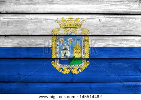 Flag Of Santander, Spain, Painted On Old Wood Plank Background