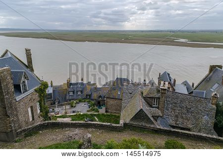 View from wall of Mont Saint-Michel France