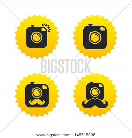 Hipster photo camera with mustache icons. Retro camera symbols. Yellow stars labels with flat icons. Vector