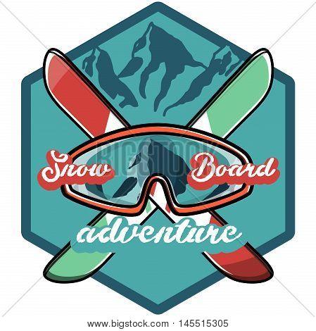 Vintage skiing and winter sports emblem, label, badge, logo. Ski club logotype, extreme, speed race tour. Vector illustration