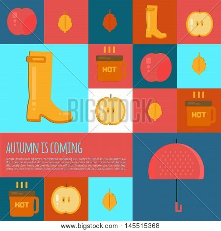 Autumn stuff icons in flat style. Vector fall rain concept icons with dry fall leaves umbrella rubber boots and hot coffe for web mobile party invitations sale advertising.