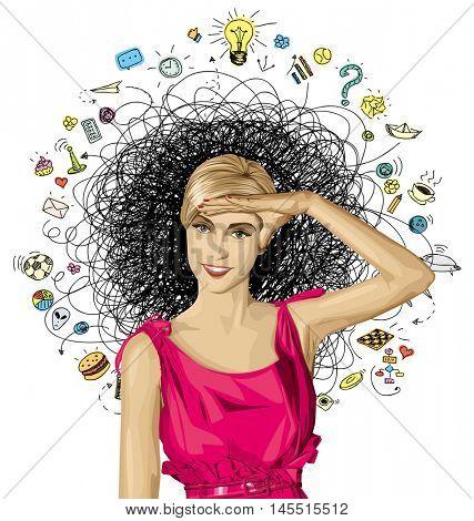 Sale concept. Vector surprised blonde in pink dress