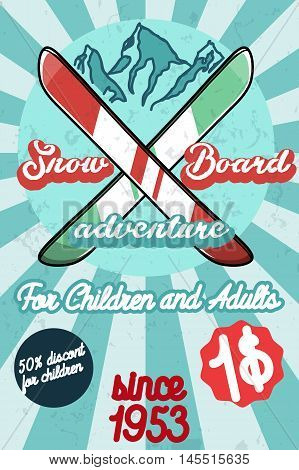 Color vintage Ski sport poster. Ski club logotype, extreme, speed race tour. Vector illustration