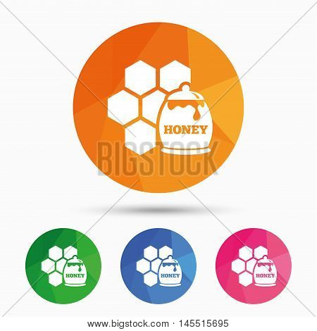Honey in pot and honeycomb sign icon. Honey cells symbol. Sweet natural food. Triangular low poly button with flat icon. Vector