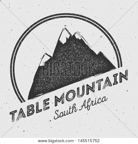 Table Mountain In , South Africa Outdoor Adventure Logo. Round Mountain Vector Insignia. Climbing, T