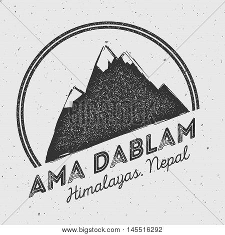 Ama Dablam In Himalayas, Nepal Outdoor Adventure Logo. Round Mountain Vector Insignia. Climbing, Tre