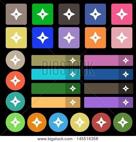 Ninja Star, Shurikens Icon Sign. Set From Twenty Seven Multicolored Flat Buttons. Vector
