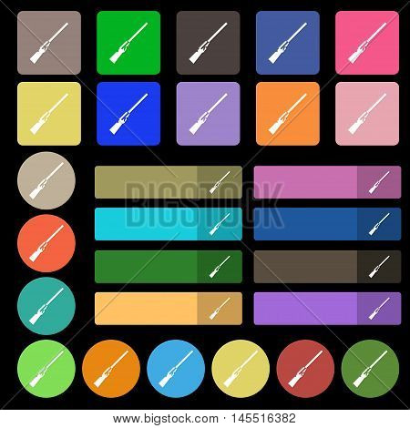 Shotgun Icon Sign. Set From Twenty Seven Multicolored Flat Buttons. Vector