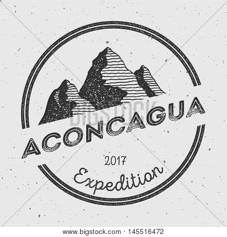 Aconcagua In Andes, Argentina Outdoor Adventure Logo. Round Expedition Vector Insignia. Climbing, Tr