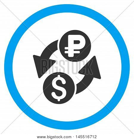 Dollar Rouble Exchange vector bicolor rounded icon. Image style is a flat icon symbol inside a circle, blue and gray colors, white background.