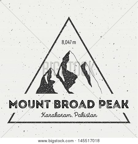 Broad Peak In Karakoram, Pakistan Outdoor Adventure Logo. Triangular Mountain Vector Insignia. Climb