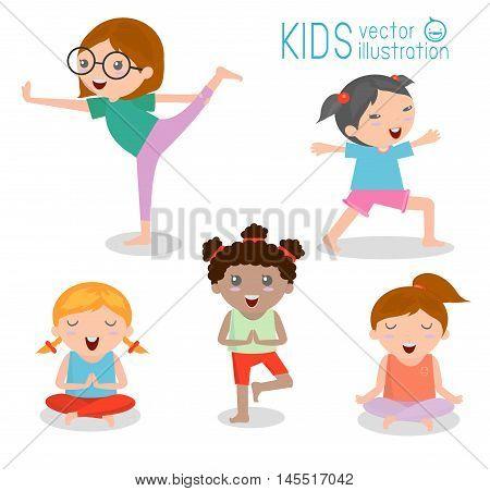 kids Practicing Yoga , happy cartoon kids Practicing Yoga , Yoga set. Yoga exercises. Healthy lifestyle on white background , Vector illustration