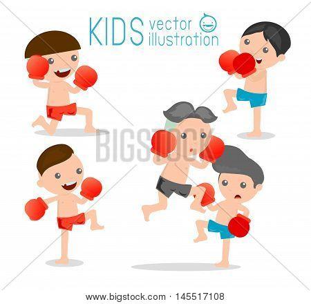 boy boxer isolated on white background,thai boxing, thai boxer.
