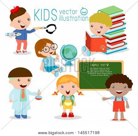 Back to school. happy cartoon kids in classroom, biology, botany, chemistry, drawing. Wrote in chalk on blackboard, happy kids , child,Vector Illustration