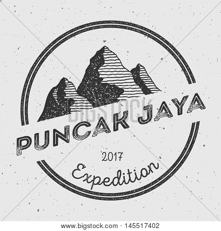 Puncak Jaya In Sudirman Range, Indonesia Outdoor Adventure Logo. Round Expedition Vector Insignia. C
