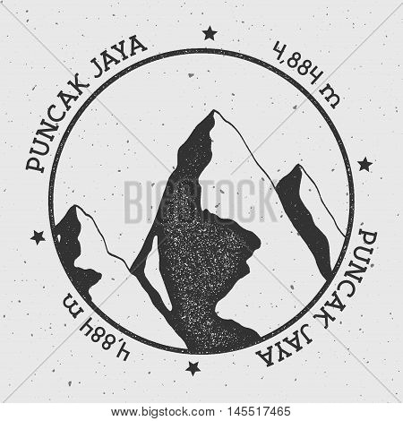 Puncak Jaya In Sudirman Range, Indonesia Outdoor Adventure Logo. Round Stamp Vector Insignia. Climbi