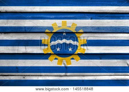 Flag Of Sao Jose Dos Campos, Sao Paulo, Brazil, Painted On Old Wood Plank Background