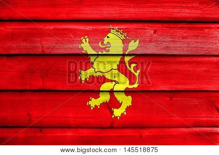 Flag Of Saragossa (zaragoza), Spain, Painted On Old Wood Plank Background