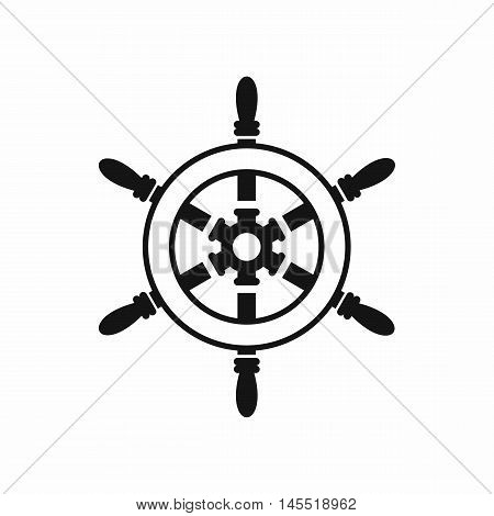 Wheel of ship icon in simple style isolated on white background. Ship control symbol
