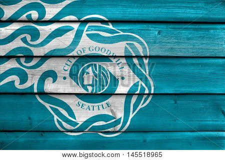 Flag Of Seattle, Usa, Painted On Old Wood Plank Background