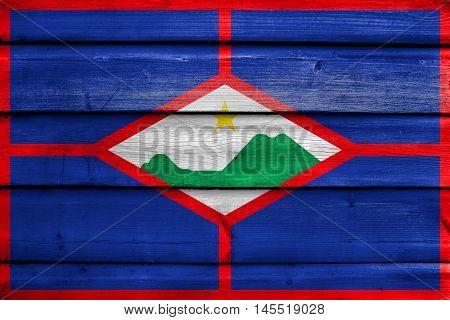 Flag Of Sint Eustatius, Netherlands, Painted On Old Wood Plank Background