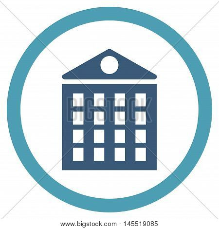 Multi-Storey House vector bicolor rounded icon. Image style is a flat icon symbol inside a circle, cyan and blue colors, white background.